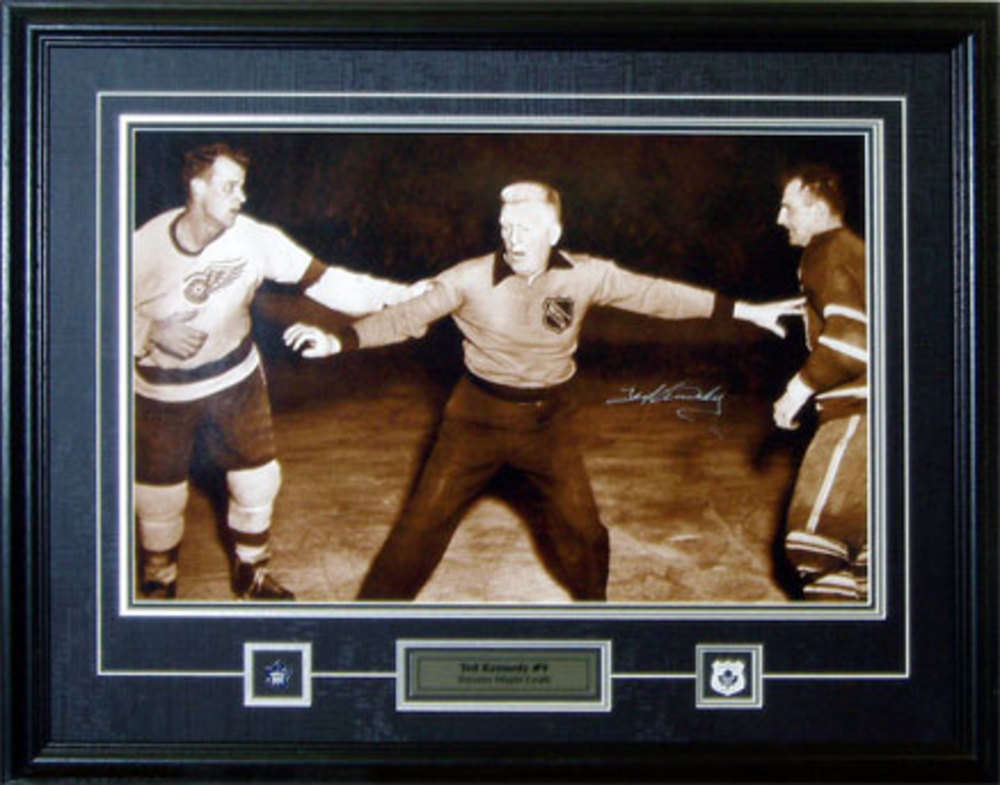 Ted Kennedy Signed 16x20 Framed Leafs B/W Fighting Gordie Howe