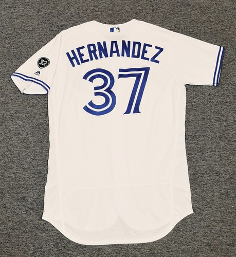 Photo of Authenticated Game Used Jersey - #37 Teoscar Hernandez (August 8, 2018: 1-for-4 with 1 HR, 1 Run, 2 RBIs. August 9, 2018: 1-for-4 with 1 HR, 1 Run, 1 RBI). Size 46.
