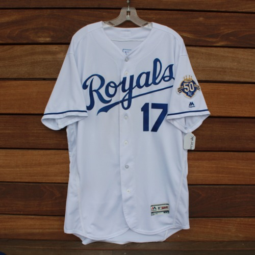 Photo of Game-Used Jersey: Hunter Dozier 87th and 88th Career Hits (CLE @ KC - 9/29/2018 - Size 48)