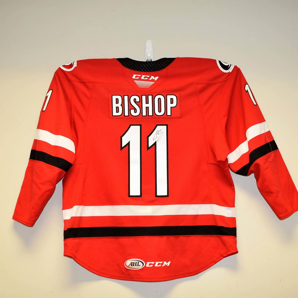 Charlotte Checkers 2019 Calder Cup Finals Game 1 Jersey Worn and Signed by #11 Clark Bishop