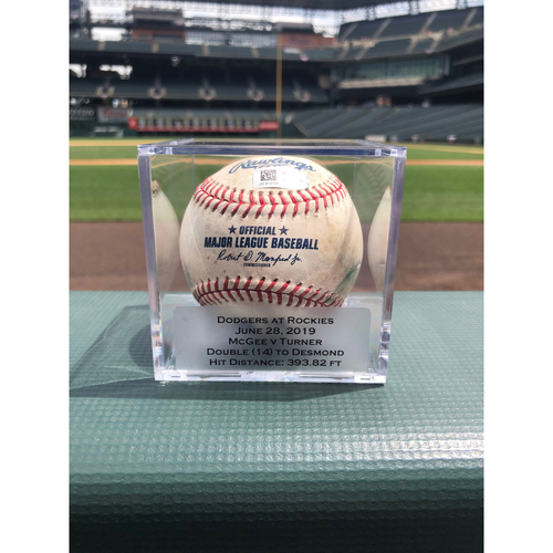 Photo of Colorado Rockies Game-Used Baseball - Pitcher: Jake McGee, Batter: Justin Turner - Double (14) to Ian Desmond - June 28, 2019 vs Dodgers