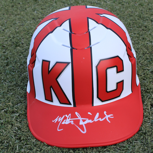 Photo of Salute to the Negro Leagues Autographed & Game-Used Helmet: Mike Jirschele (Size 7 1/2 - MIN at KC - 6/23/19)