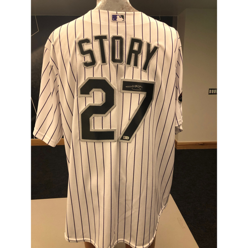 Photo of Colorado Rockies Trevor Story Autographed Jersey: 2018 Postseason Home White