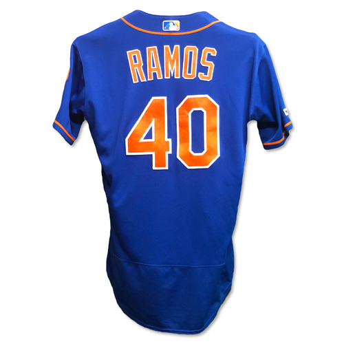Photo of Wilson Ramos #40 - Game Used Blue Alt. Home Jersey - 2-3, RBI and 1 Run Scored - Mets vs. Nationals - 5/23/19