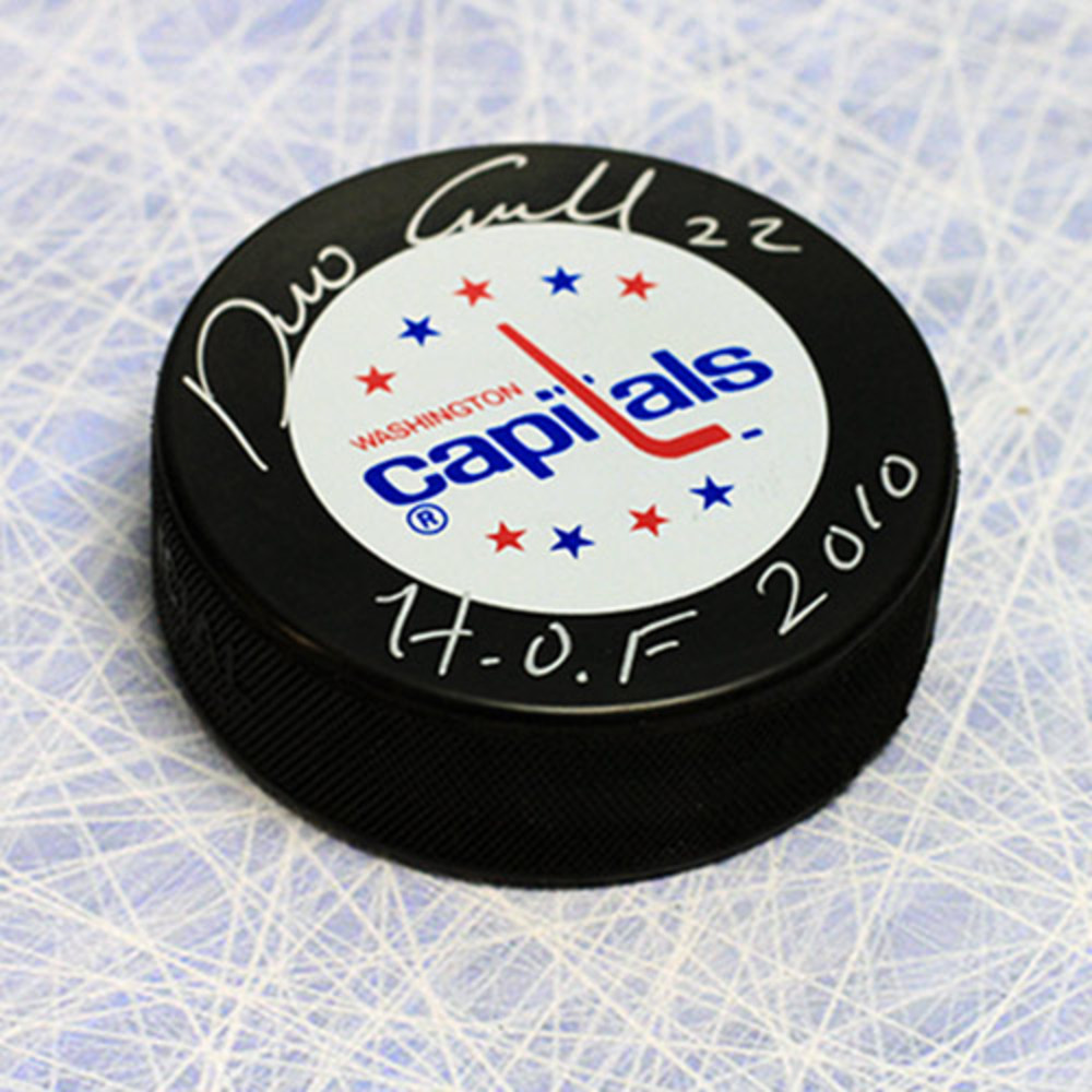 Dino Ciccarelli Washington Capitals Autographed Hockey Puck with HOF Note