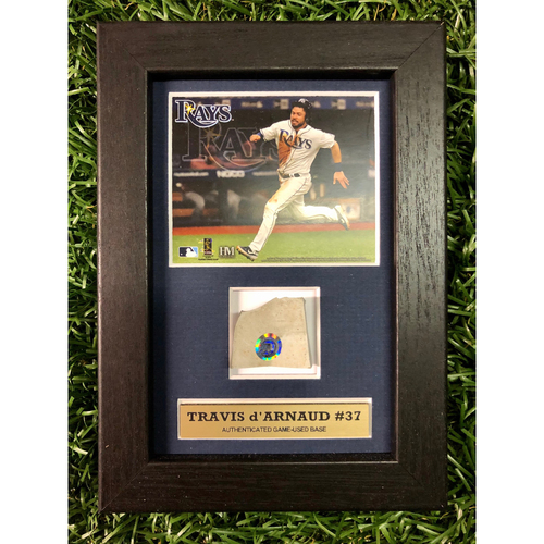 Photo of Rays Baseball Foundation: Travis d'Arnaud Game Used Base Swatch Framed Piece