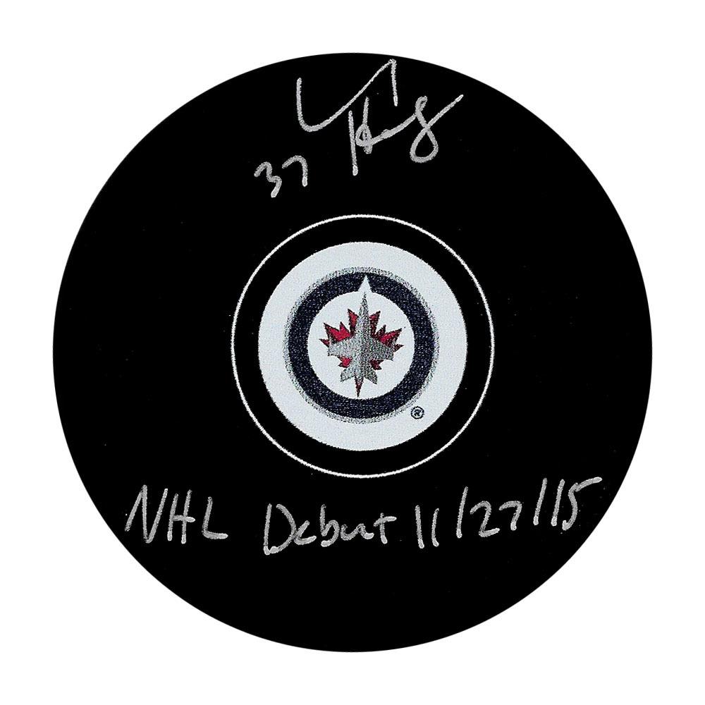 Connor Hellebuyck Autographed Winnipeg Jets Puck w/NHL DEBUT 11/27/15 Inscription