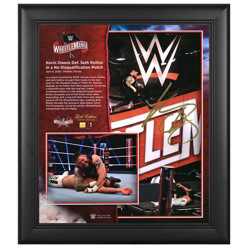 Kevin Owens SIGNED WrestleMania 36 WrestleMania Gold Edition Plaque (#1 of 1)