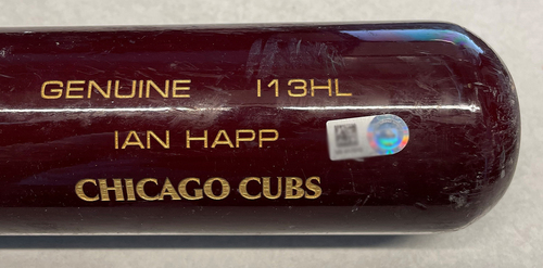 Photo of Ian Happ Game-Used Cracked Bat -- Freddy Peralta to Ian Happ, Ground Out, Top 5 -- Cubs at Brewers -- 4/12/21