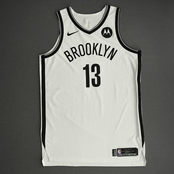 Image of James Harden - Brooklyn Nets - Game-Worn Association Edition Jersey - Recorded a 41 point Double-Double - 2021 NBA Playoffs