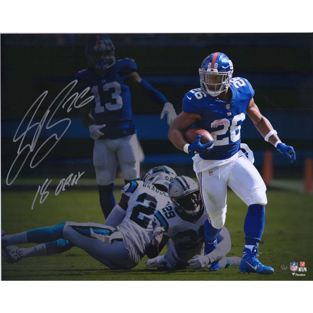 Saquon Barkley New York Giants 16'' x 20'' Signed & Inscribed Photo - Limited Edition #1/10