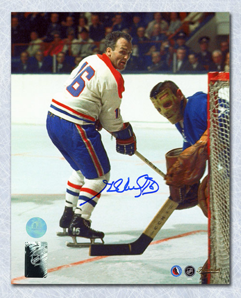 Henri Richard Montreal Canadiens Autographed Action vs Maple Leafs 8x10 Photo