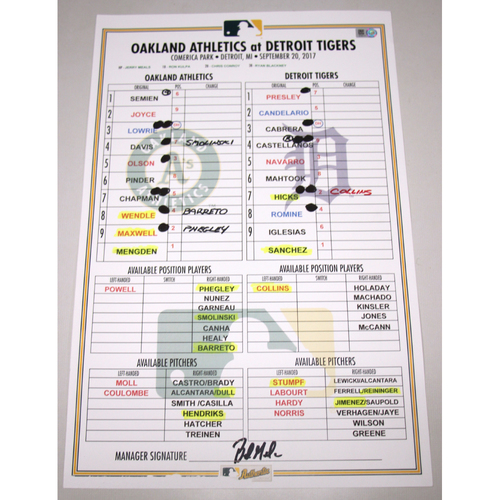 Photo of Lineup Card - 9/20/17 Oakland Athletics at Detroit Tigers