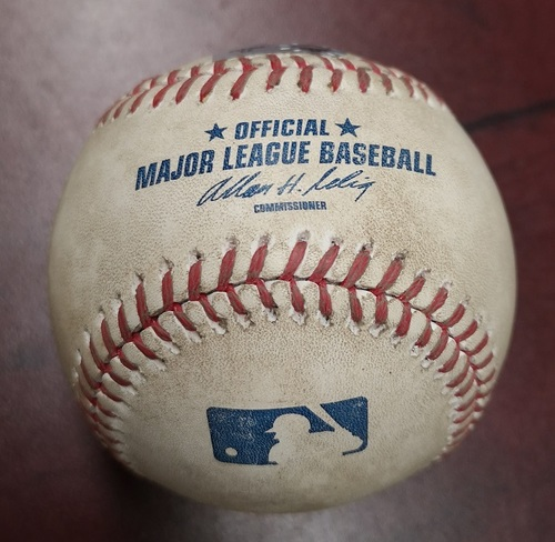 Photo of Authenticated Game Used Baseball - Omar Vizquel struck out against Hector Noesi (September 13, 2012 vs Seattle Mariners). Bottom 7. Vizquel's Final MLB Season.