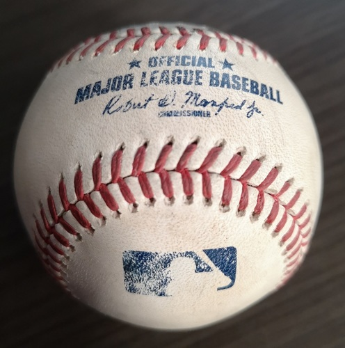 Photo of Authenticated Game Used Baseball: RBI Double by Elvis Andrus against Zack Godley (Aug 14, 19 vs TEX). Top 6.