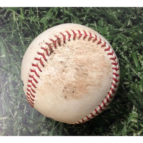 Photo of Game-Used Baseball SD@MIL 09/16/19 - Zach Davies - Luis Urias: Foul