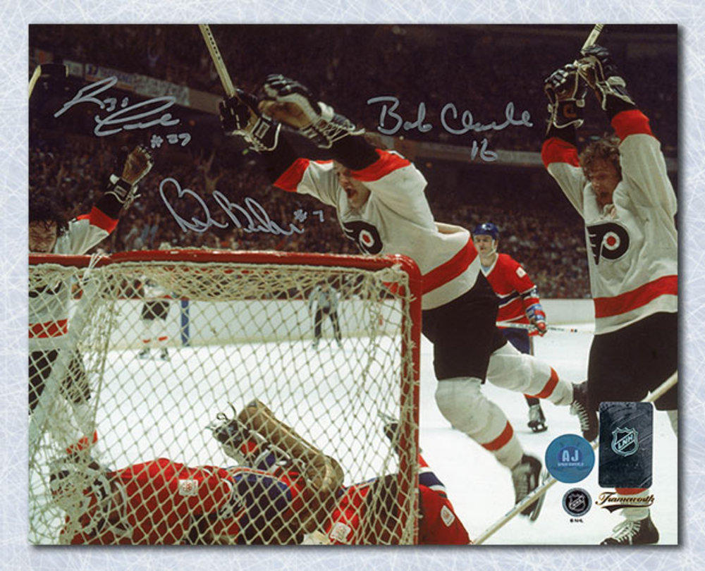 Bobby Clarke Barber & Leach Signed Philadelphia Flyers LCB Line 8x10 Photo