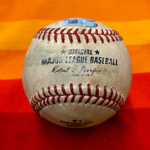 Photo of Opening Day 2020 Game-Used Baseball: Justin Verlander to Kyle Seager (Home Run)
