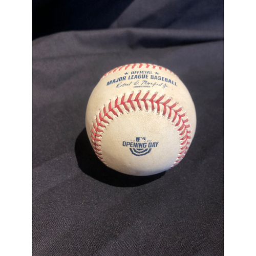 Photo of 2020 Opening Day -- Mike Moustakas -- Game-Used Baseball -- Boyd to Moustakas (Ball) -- Bottom 5