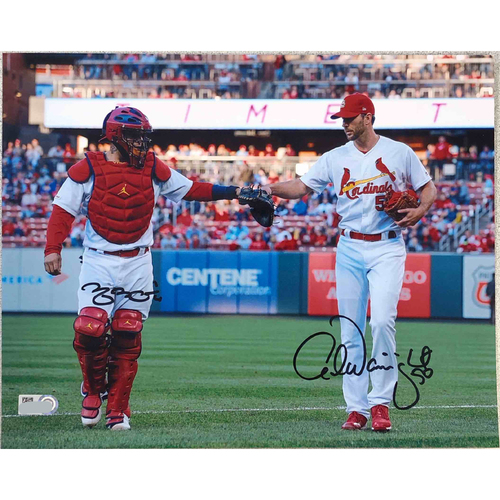Photo of Cardinals Authentics: Adam Wainwright and Yadier Molina Fist Bump Autographed Photo