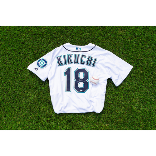 Photo of Yusei Kikuchi Autographed Jersey & Autographed Ball