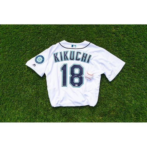 Photo of Yusei Kikuchi Autographed Jersey & Autographed Ball