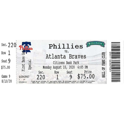 Photo of August 10, 2020 Ticket: Phillies vs. Braves