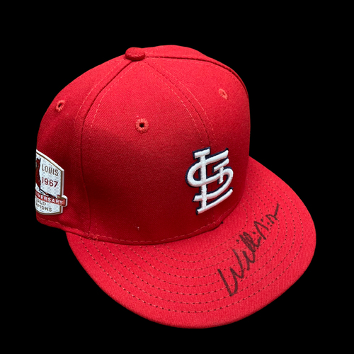 Willie McGee Autographed Replica Home Cap w/ 50th Anniversary Patch  (Size 7 1/8)