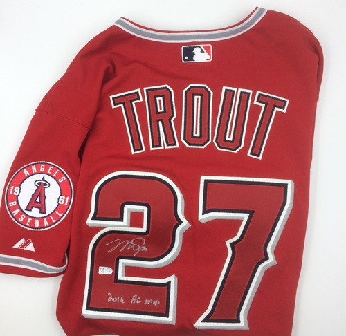 "Photo of Mike Trout Autographed ""2016 AL MVP"" Authentic Red Angels Jersey"
