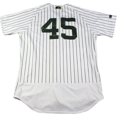 Photo of Chasen Shreve New York Yankees Game-Used #45 Memorial Day Weekend Pinstripe Jersey (5/28/2017) (Size 46)
