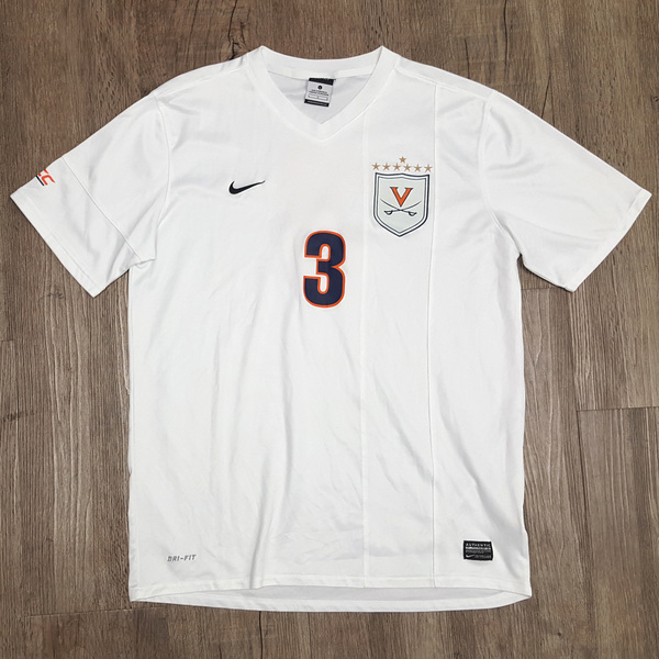 Photo of 2014 National Championship Game-Worn University of Virginia Men's Soccer Jersey: White #3
