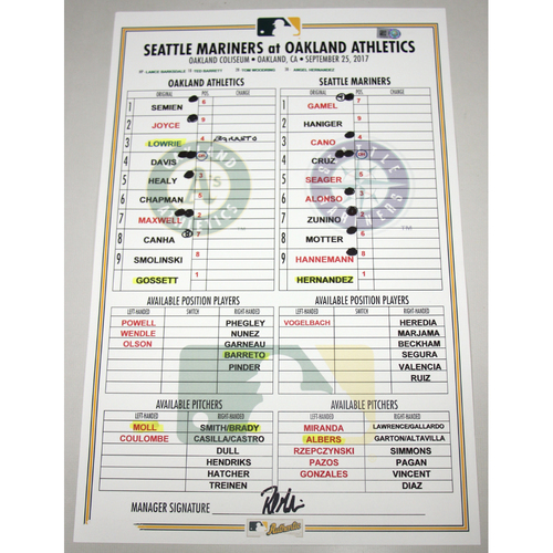 Photo of Lineup Card - 9/25/17 Seattle Mariners vs Oakland Athletics
