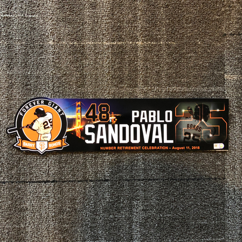 Photo of 2018 San Francisco Giants - Locker Tag - #25 Number Retirement Game - #48 Pablo Sandoval