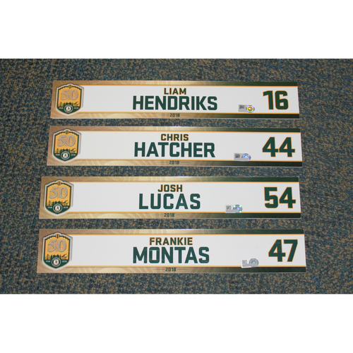 Photo of Liam Hendriks, Chris Hatcher, Josh Lucas & Frankie Montas 2018 Locker Nameplates