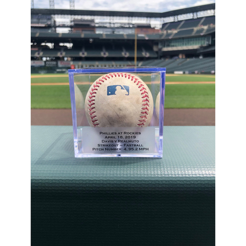 Photo of Colorado Rockies Game-Used Baseball - Pitcher: Wade Davis, Batter: J.T. Realmuto - Strikeout - April 18, 2019 vs Phillies