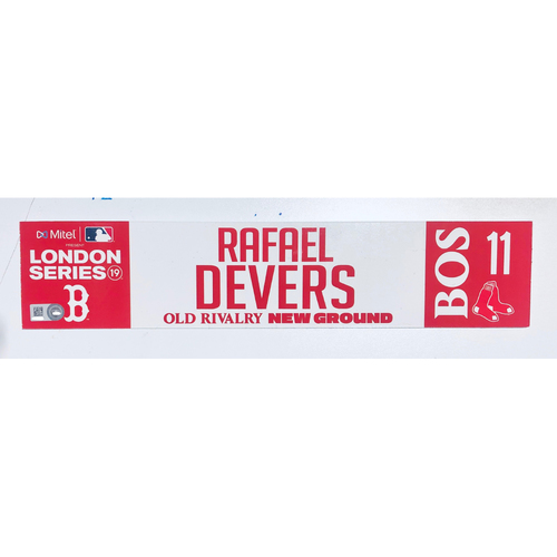 2019 London Series - Game Used Locker Tag - Rafael Devers, New York Yankees vs Boston Red Sox - 6/30/2019