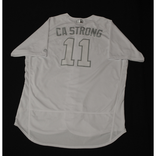 """Photo of Mike """"CA STRONG"""" Moustakas Milwaukee Brewers Game-Used 2019 Players' Weekend Jersey"""