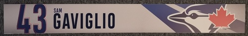 Photo of Authenticated Game Used Locker Name Plate: #43 Sam Gaviglio (2019 Regular Season)