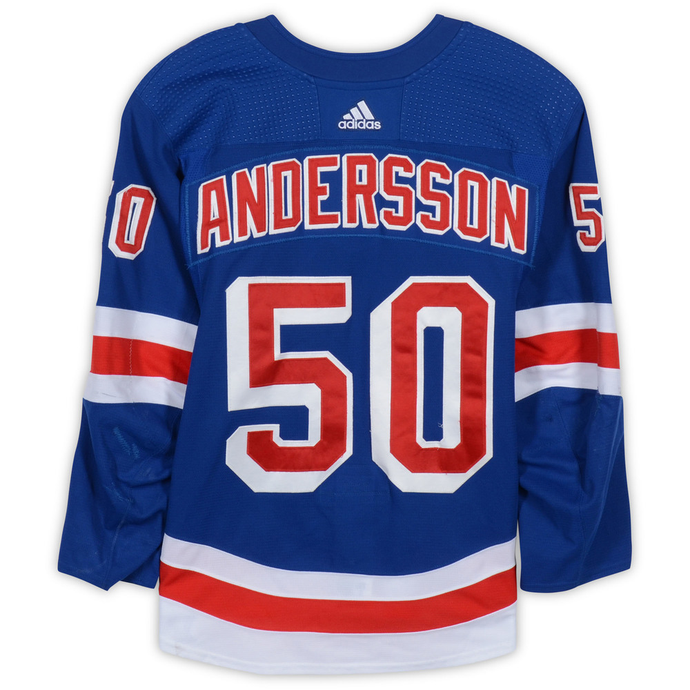 Lias Andersson New York Rangers Game-Used #50 Blue Set 3 Jersey from the 2018-19 NHL Season - Size 56