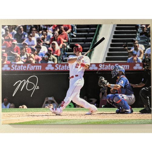 Photo of Mike Trout Autographed Grand Slam Photo Canvas
