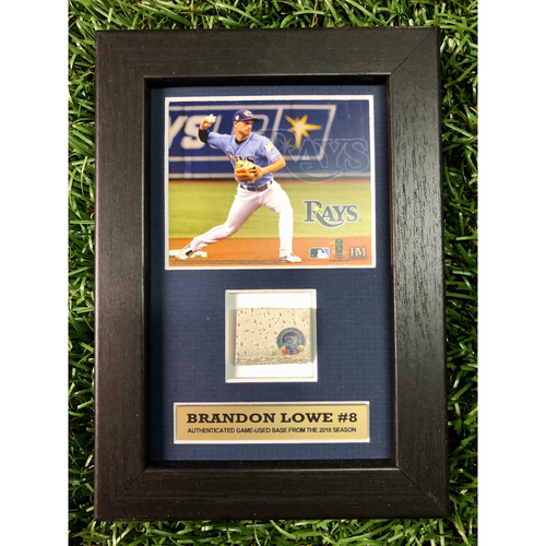 Photo of Rays Baseball Foundation: Brandon Lowe Game Used Base Swatch Framed Piece