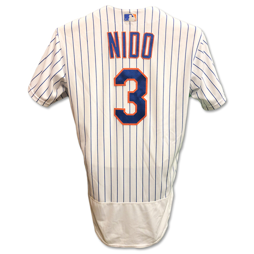 Tomas Nido #3 - Game Used White Pinstripe Jersey - 2-4, 3 RBI's; Also Worn 6/30 - Mets vs. Phillies -7/6/19