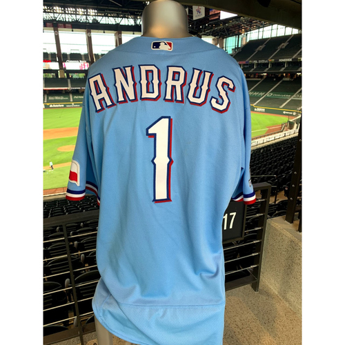 Photo of Elvis Andrus Game-Used Powder Blue Jersey - 1st Time Worn (7/26/20)