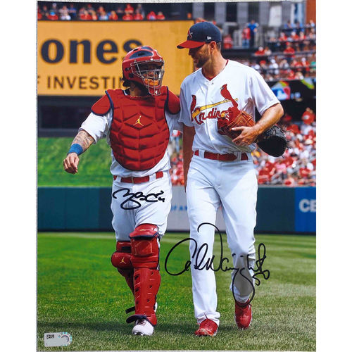 Photo of Cardinals Authentics: Adam Wainwright and Yadier Molina Walking Autographed Photo