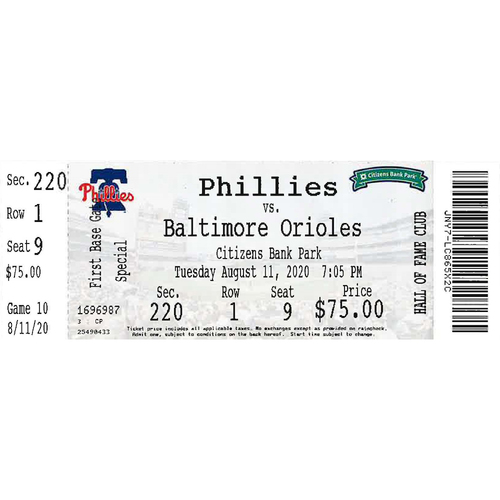 Photo of August 11, 2020 Ticket: Phillies vs. Orioles