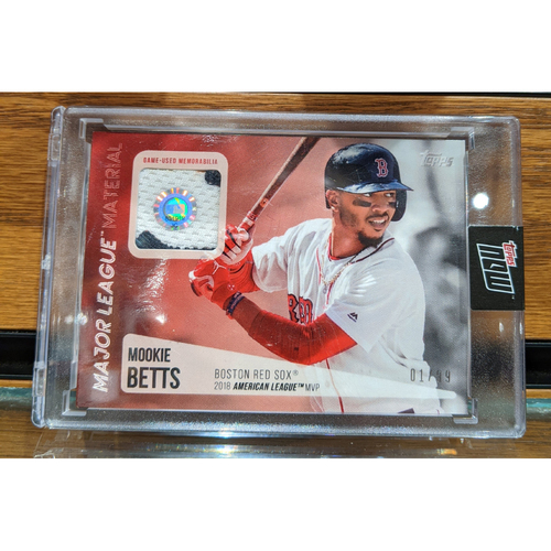 Photo of Topps Mookie Betts 2018 MVP Game Used Jersey Swatch Baseball Card 1/99