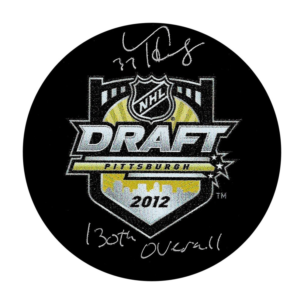 Connor Hellebuyck Autographed 2012 NHL Entry Draft Puck w/130TH OVERALL Inscription