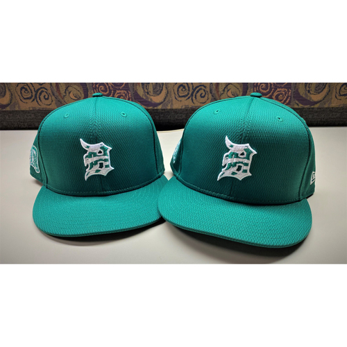 Photo of Detroit Tigers 2021 St. Patrick's Day Game-Used Green Cap Collection #1: Spencer Torkelson and Riley Greene (MLB AUTHENTICATED)