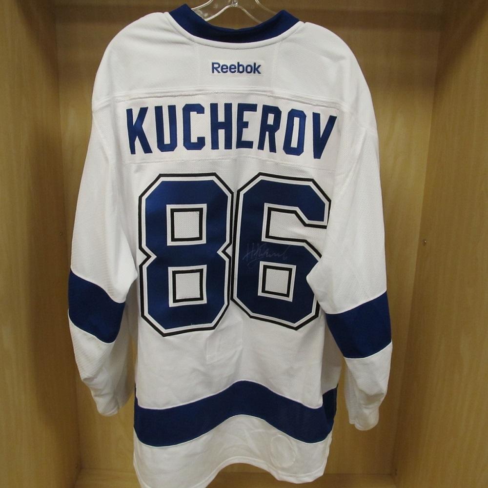 Nikita Kucherov White Game-Worn 2015 Stanley Cup Final Jersey - Tampa Bay  Lightning 308bde44d