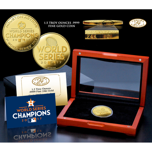 Serial #17! Houston Astros 2017 World Series Champions 1.5 oz. Pure 24kt Gold Coin